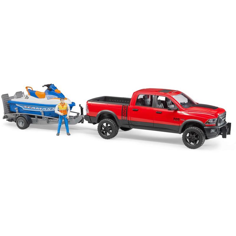 BRUDER RAM 2500 POWER WAGON C/RIMORCHIO, MOTO D'ACQUA E PERSONAGGIO