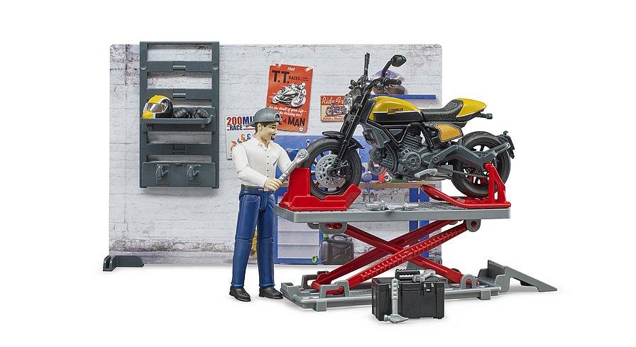 BRUDER OFFICINA MOTOCICLETTE CON MOTO SCRAMBLER DUCATI FULL THROTTLE 62102