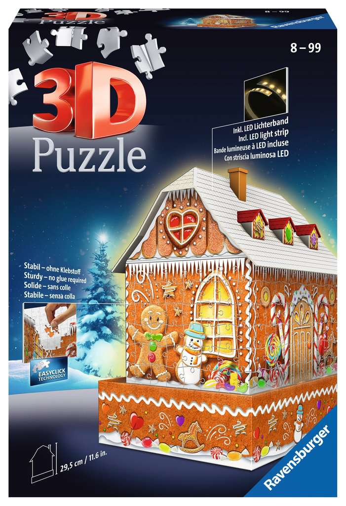 RAVENSBURGER 3D BUILDING GINGER BREAD HOUSE NIGHT EDITION 11237