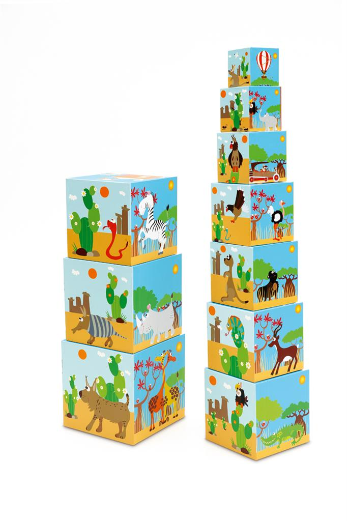 SCRATCH BUILD&PLAY STACKING TOWER ANIMALS OF THE WORLD