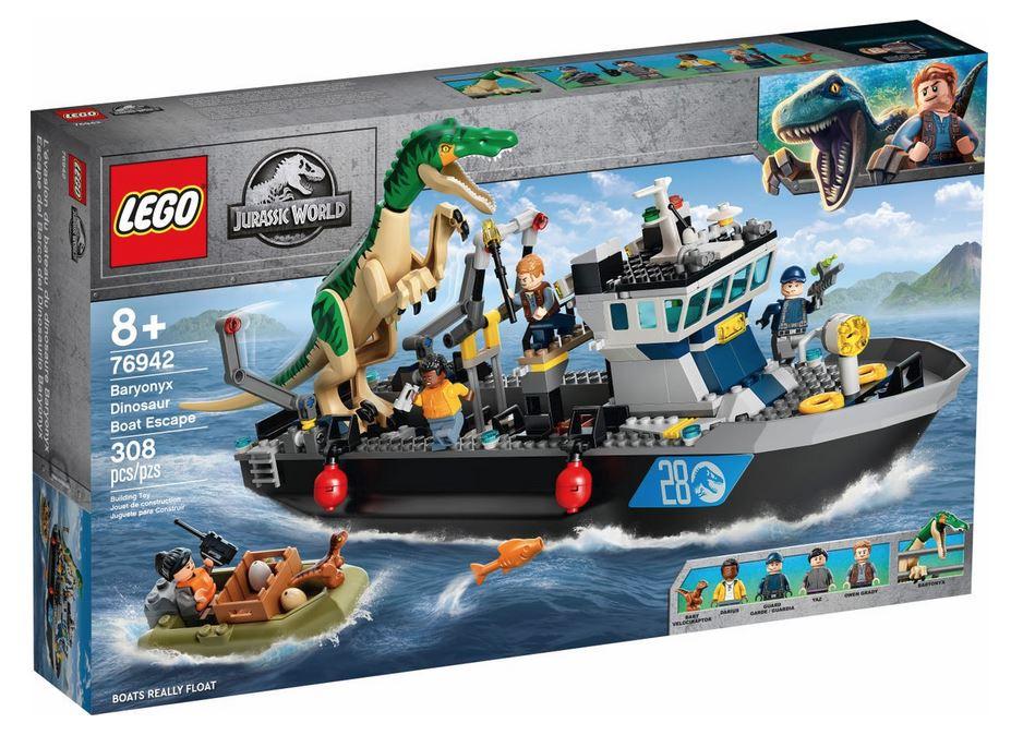 LEGO JURASSIC WORLD FUGA SULLA BARCA DEL DINOSAURO BARYONYX 76942