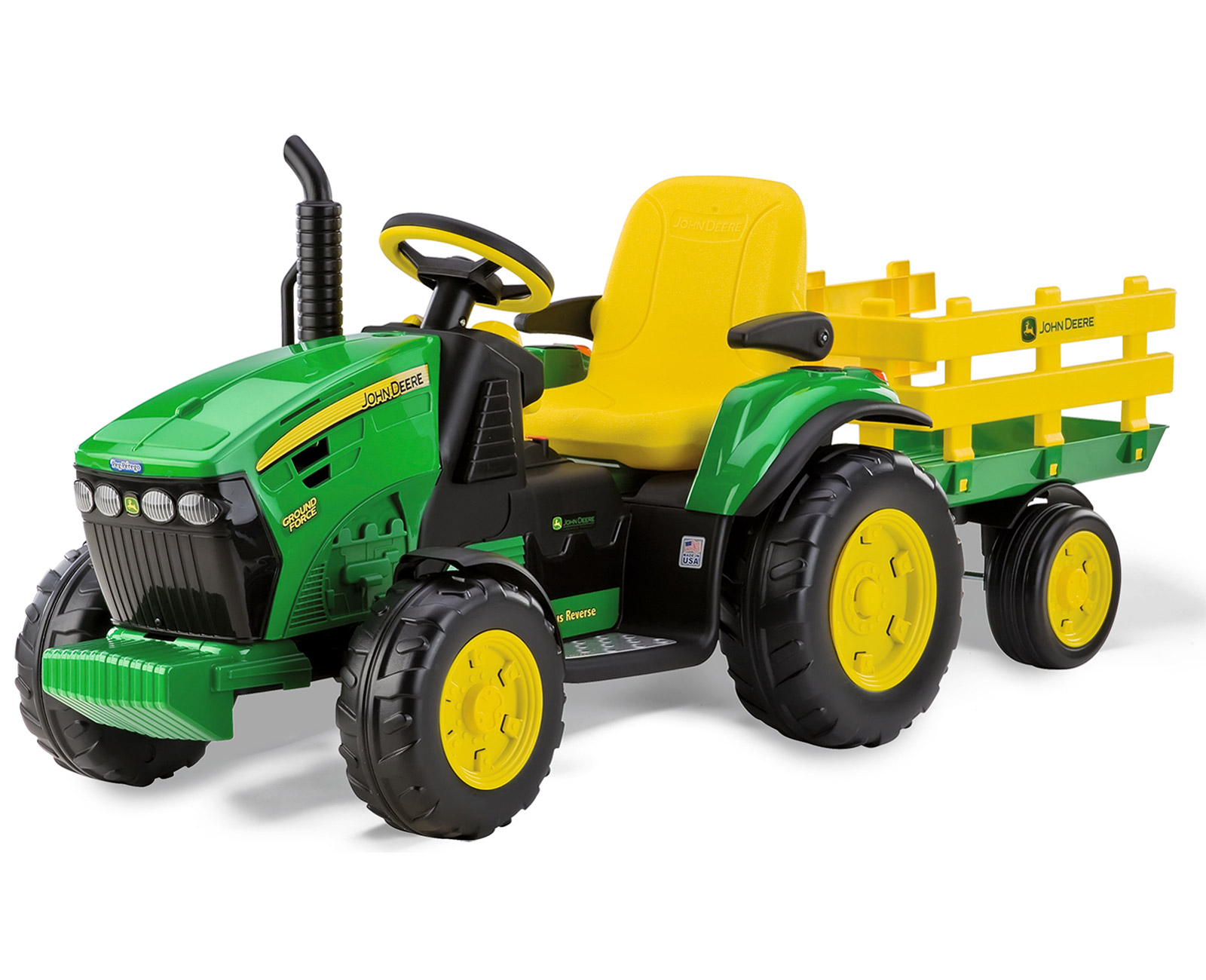 PEG PEREGO TRATTORE ELETTRICO JOHN DEERE GROUND FORCE W/TRAILER IGOR0047